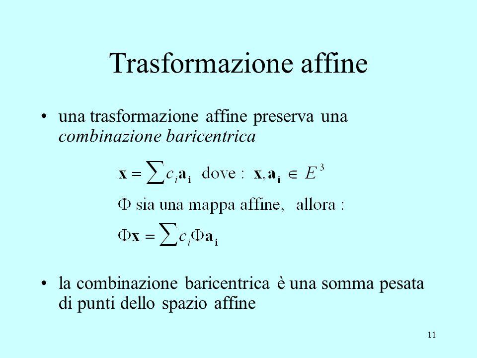 11 Trasformazione affine una trasformazione affine preserva una combinazione baricentrica la combinazione baricentrica è una somma pesata di punti del