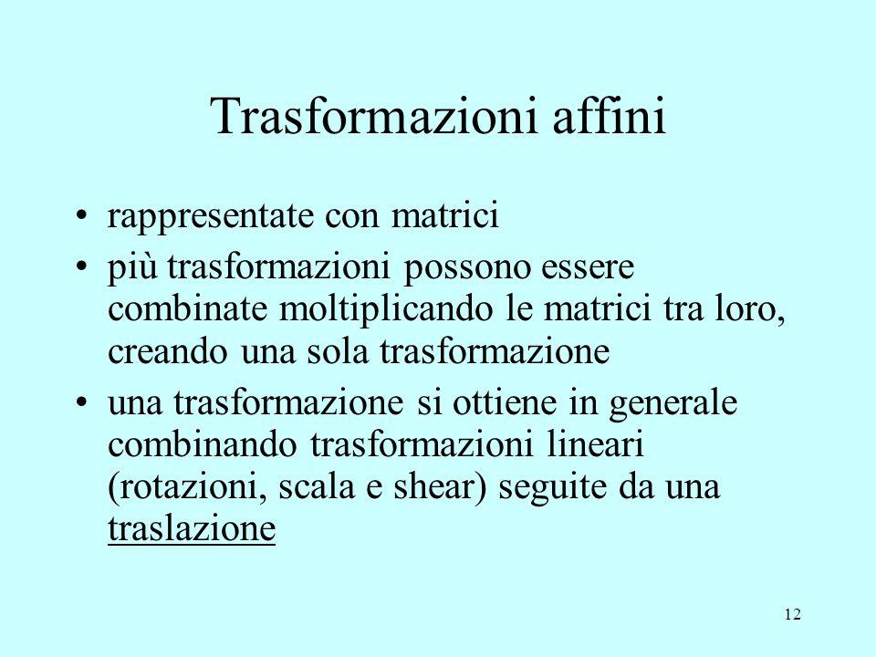 12 Trasformazioni affini rappresentate con matrici più trasformazioni possono essere combinate moltiplicando le matrici tra loro, creando una sola tra