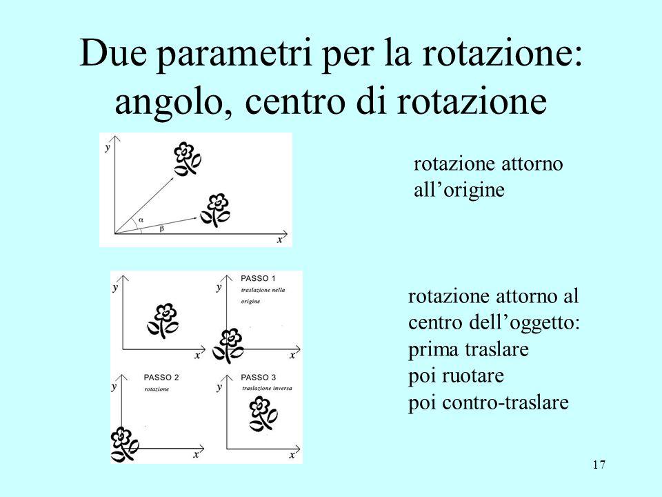 17 rotazione attorno all'origine rotazione attorno al centro dell'oggetto: prima traslare poi ruotare poi contro-traslare Due parametri per la rotazio