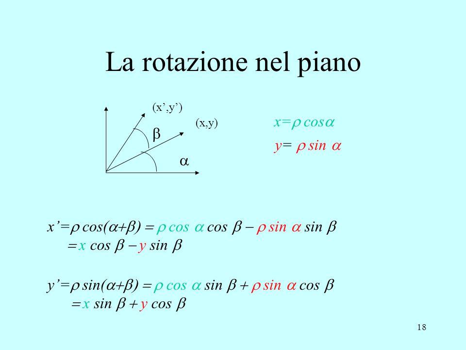 18 (x,y) (x',y')   x=  cos  y=  sin  y'=  sin(  cos  sin  sin  cos   x sin  y cos  x'=  cos(  co
