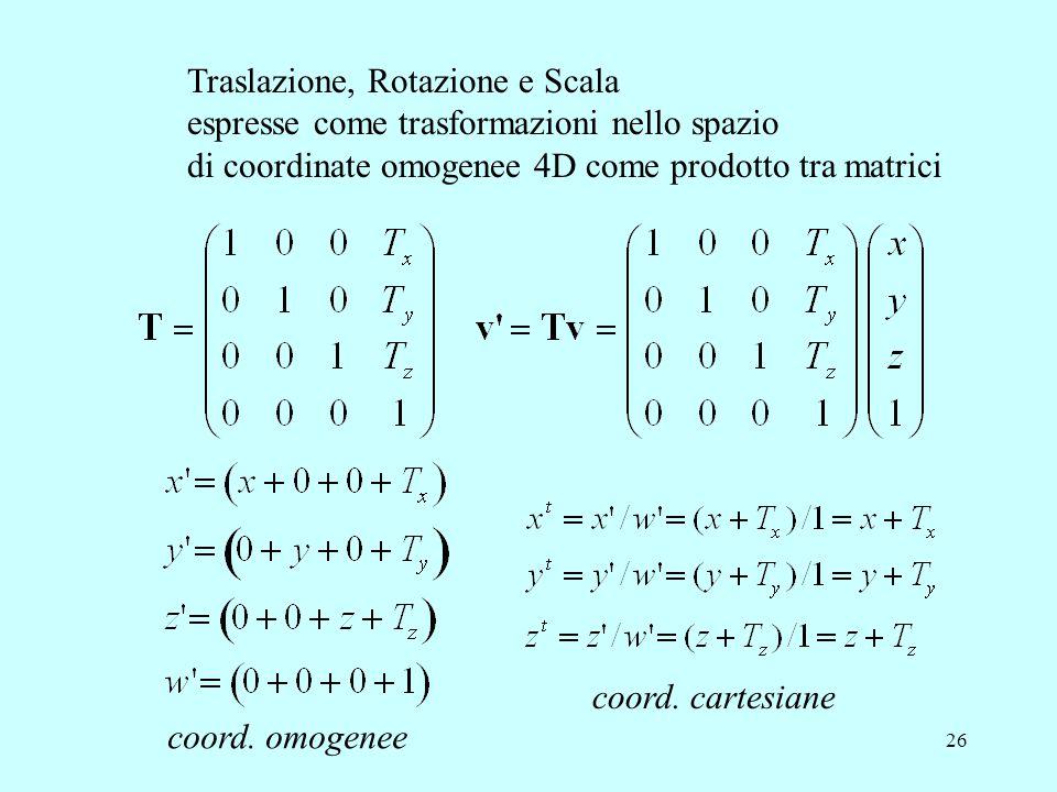 26 Traslazione, Rotazione e Scala espresse come trasformazioni nello spazio di coordinate omogenee 4D come prodotto tra matrici coord. omogenee coord.