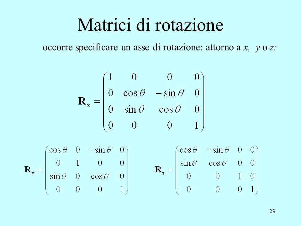 29 Matrici di rotazione occorre specificare un asse di rotazione: attorno a x, y o z:
