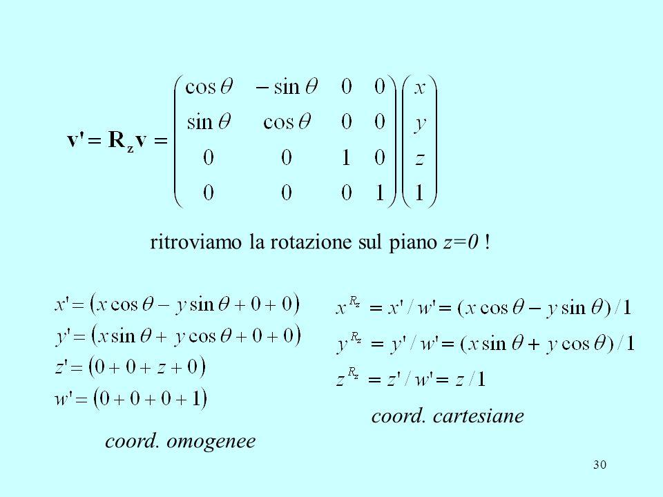 30 coord. omogenee coord. cartesiane ritroviamo la rotazione sul piano z=0 !