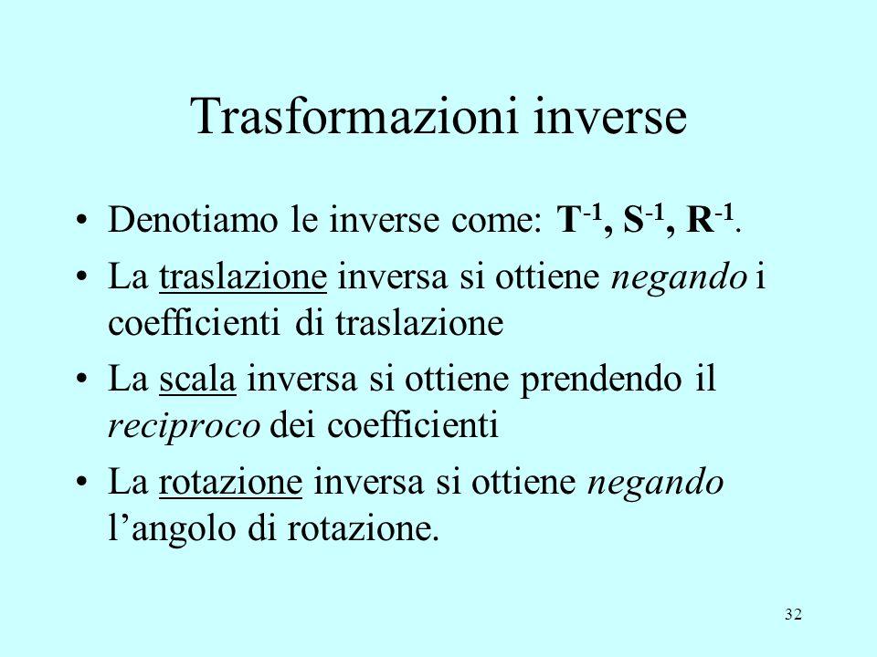 32 Trasformazioni inverse Denotiamo le inverse come: T -1, S -1, R -1. La traslazione inversa si ottiene negando i coefficienti di traslazione La scal