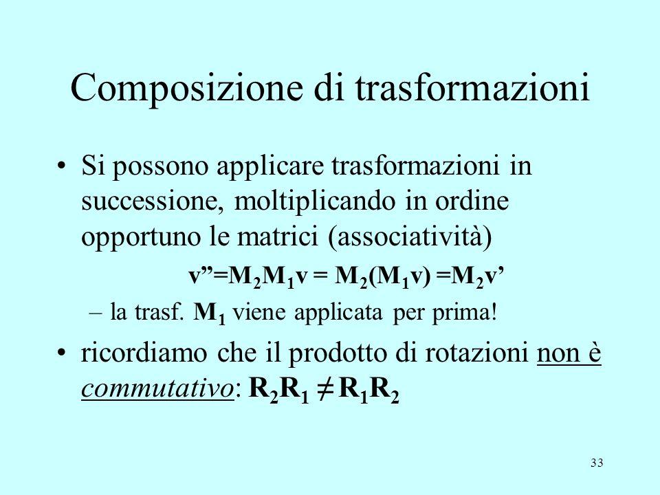 """33 Composizione di trasformazioni Si possono applicare trasformazioni in successione, moltiplicando in ordine opportuno le matrici (associatività) v""""="""