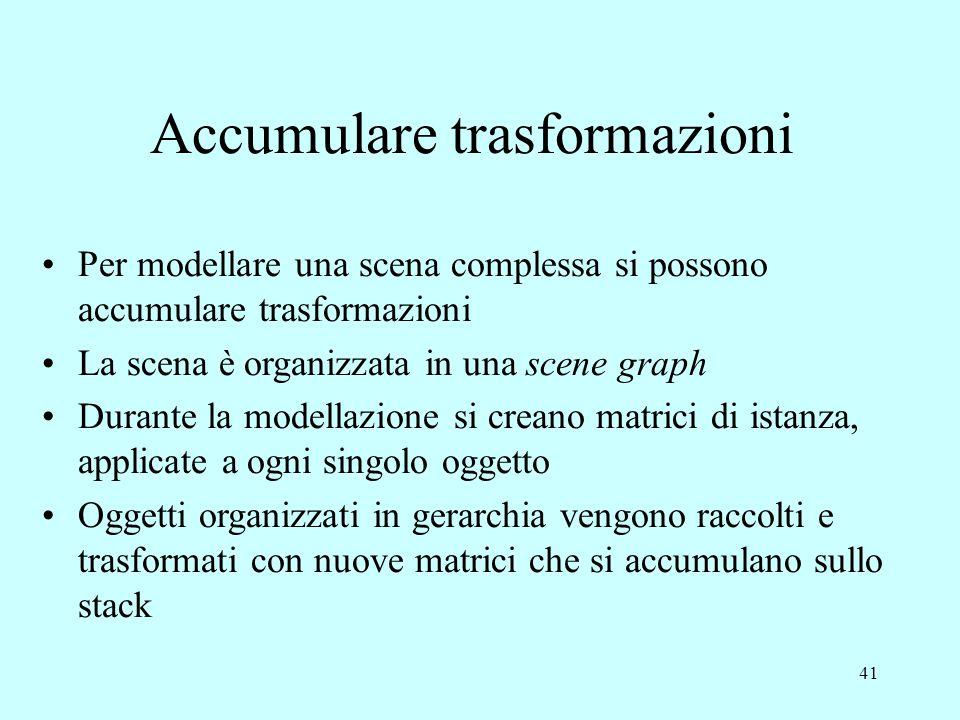 41 Accumulare trasformazioni Per modellare una scena complessa si possono accumulare trasformazioni La scena è organizzata in una scene graph Durante