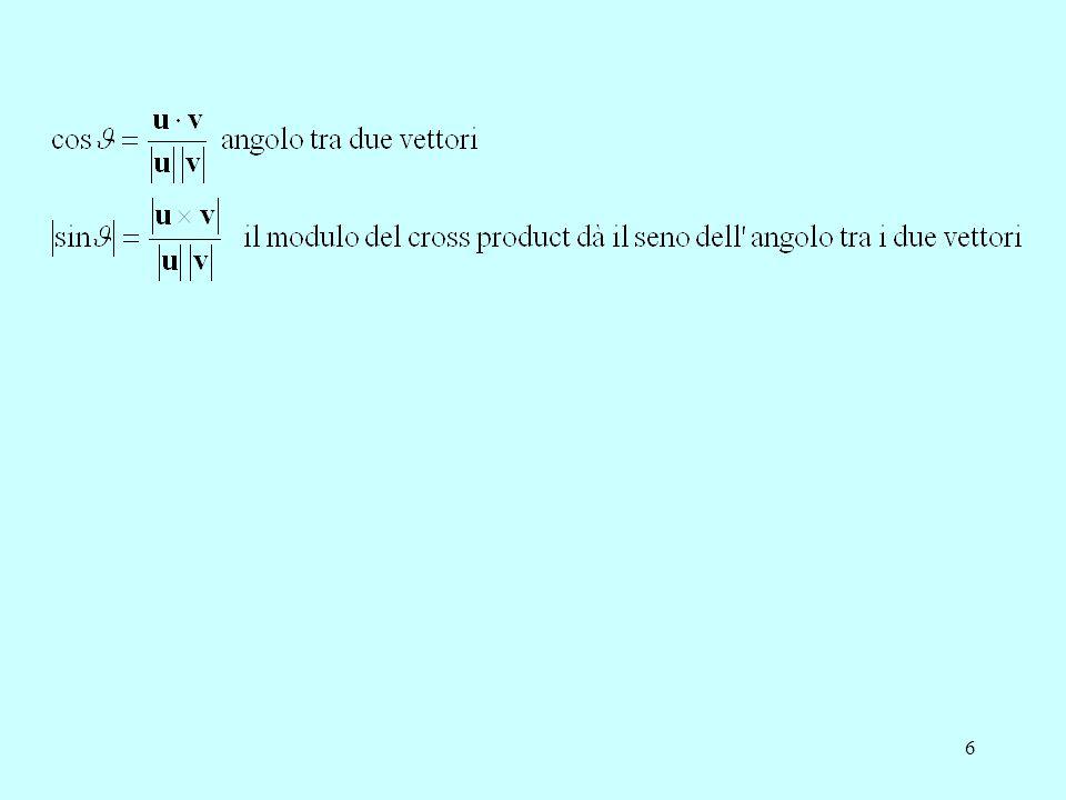 7 Orientamento nello spazio affine lo spazio può essere orientato in due modi: –mano sinistra: avvolgete la mano all'asse x e puntate il pollice verso x a sinistra, z (medio) viene verso di voi e y (indice) va verso l'alto –mano destra: avvolgete la mano all'asse x e puntate il pollice verso x a destra, z (medio) viene verso di voi e y (indice) va verso l'alto questo definisce il world coordinate system in cui sono definiti la scena