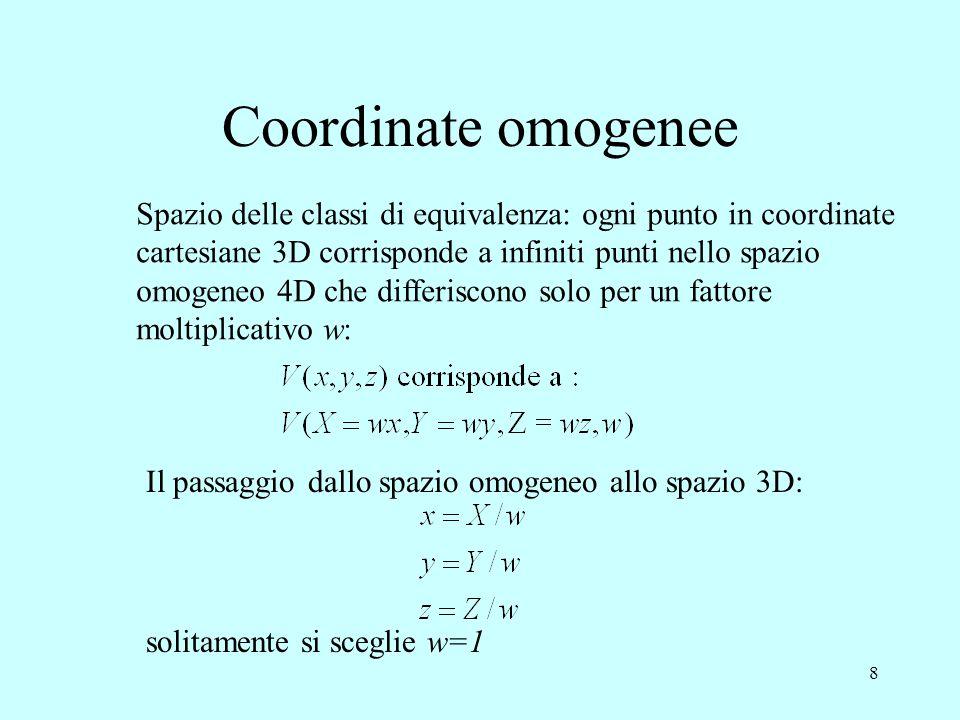 9 Coordinate omogenee Lo spazio 3D può anche essere considerato come lo spazio omogeneo del piano 2D: ogni punto nel piano 2D corrisponde a infiniti punti nello spazio omogeneo 3D che differiscono solo per un fattore moltiplicativo w: