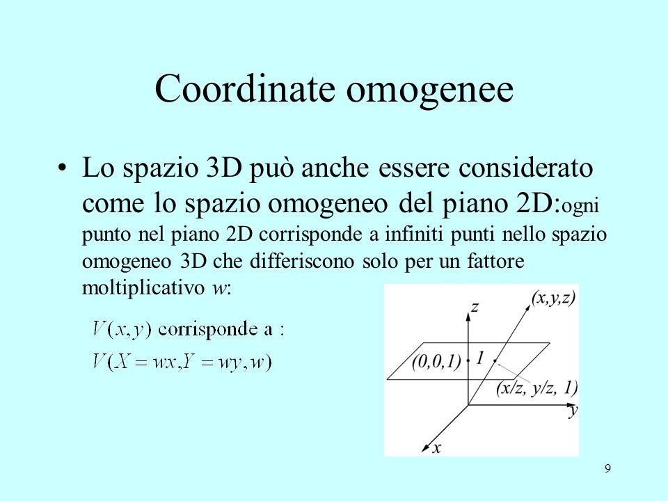9 Coordinate omogenee Lo spazio 3D può anche essere considerato come lo spazio omogeneo del piano 2D: ogni punto nel piano 2D corrisponde a infiniti p