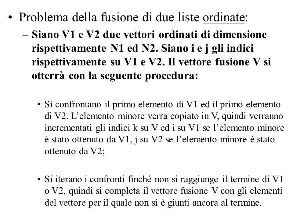 Problema della fusione di due liste ordinate: –Siano V1 e V2 due vettori ordinati di dimensione rispettivamente N1 ed N2.