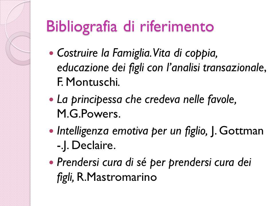 Bibliografia di riferimento Costruire la Famiglia. Vita di coppia, educazione dei figli con l'analisi transazionale, F. Montuschi. La principessa che