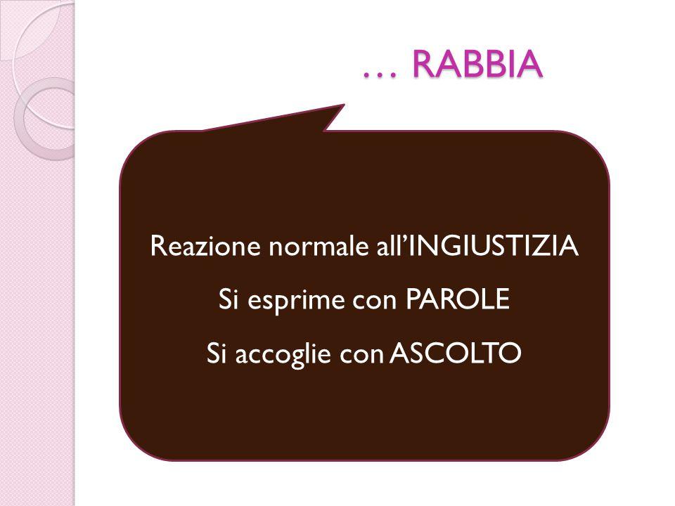 … RABBIA Reazione normale all'INGIUSTIZIA Si esprime con PAROLE Si accoglie con ASCOLTO