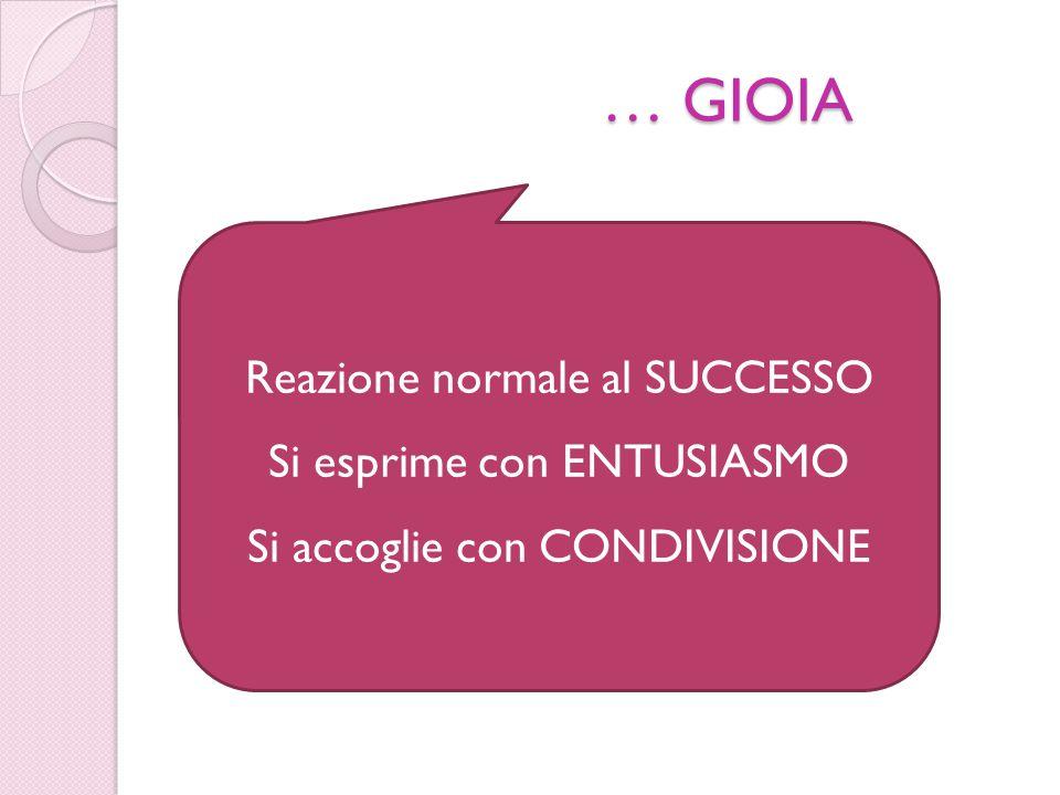 … GIOIA Reazione normale al SUCCESSO Si esprime con ENTUSIASMO Si accoglie con CONDIVISIONE