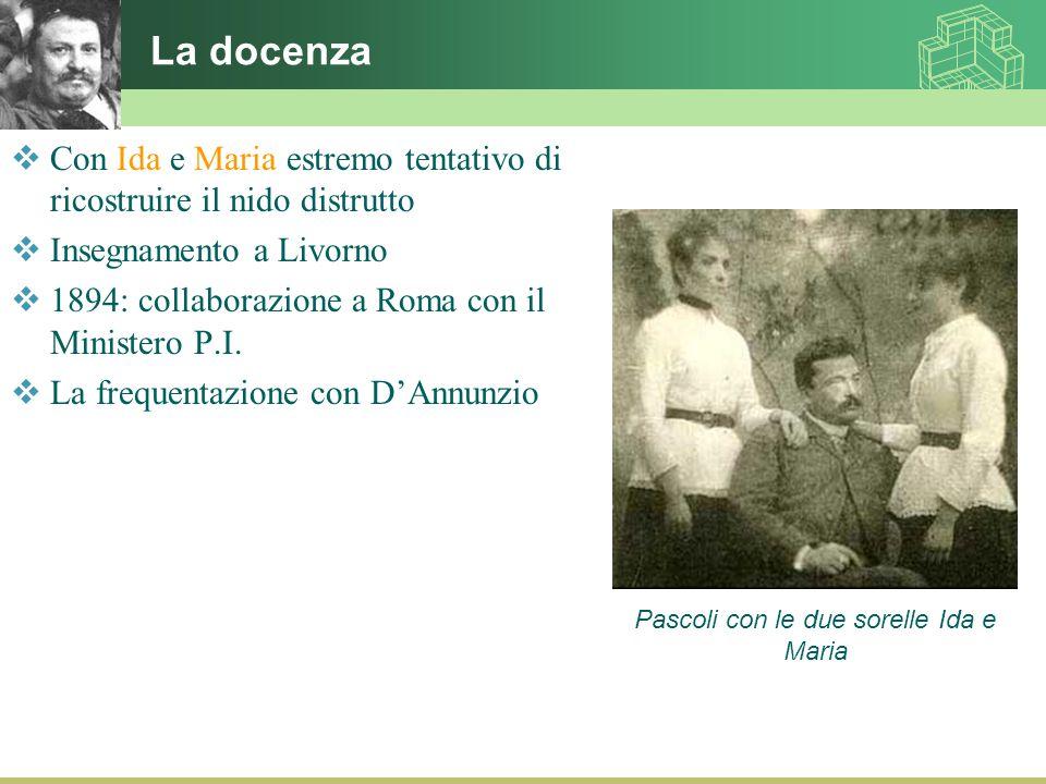 La docenza  Con Ida e Maria estremo tentativo di ricostruire il nido distrutto  Insegnamento a Livorno  1894: collaborazione a Roma con il Minister