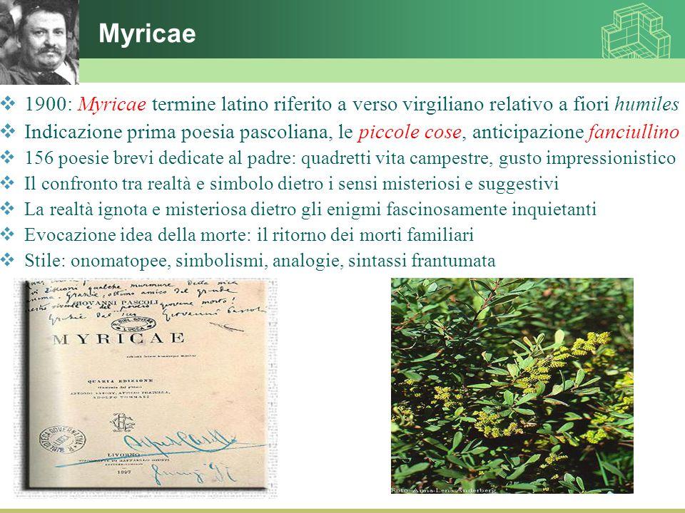 Myricae  1900: Myricae termine latino riferito a verso virgiliano relativo a fiori humiles  Indicazione prima poesia pascoliana, le piccole cose, an