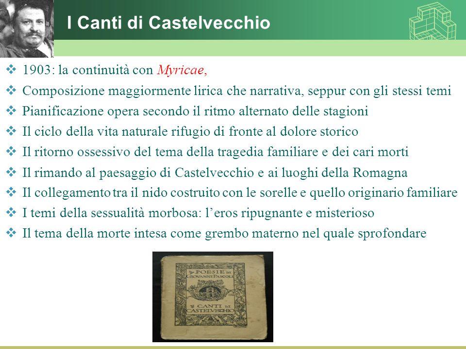 I Canti di Castelvecchio  1903: la continuità con Myricae,  Composizione maggiormente lirica che narrativa, seppur con gli stessi temi  Pianificazi