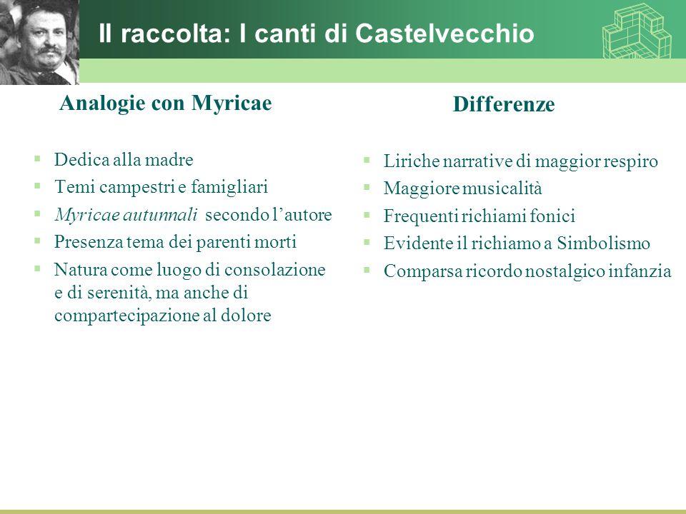II raccolta: I canti di Castelvecchio Analogie con Myricae  Dedica alla madre  Temi campestri e famigliari  Myricae autunnali secondo l'autore  Pr