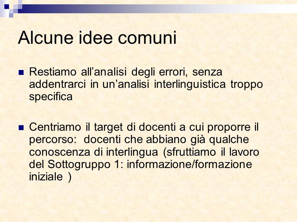 Alcune idee comuni Restiamo all'analisi degli errori, senza addentrarci in un'analisi interlinguistica troppo specifica Centriamo il target di docenti