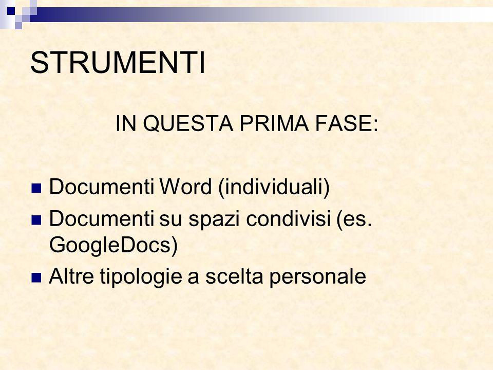 STRUMENTI IN QUESTA PRIMA FASE: Documenti Word (individuali) Documenti su spazi condivisi (es. GoogleDocs) Altre tipologie a scelta personale