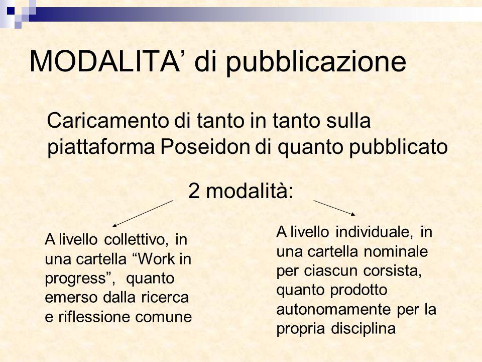 MODALITA' di pubblicazione Caricamento di tanto in tanto sulla piattaforma Poseidon di quanto pubblicato 2 modalità: A livello collettivo, in una cart