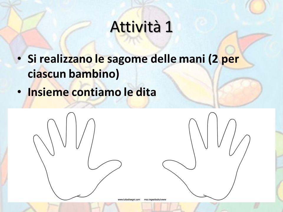 Attività 1 Si realizzano le sagome delle mani (2 per ciascun bambino) Insieme contiamo le dita