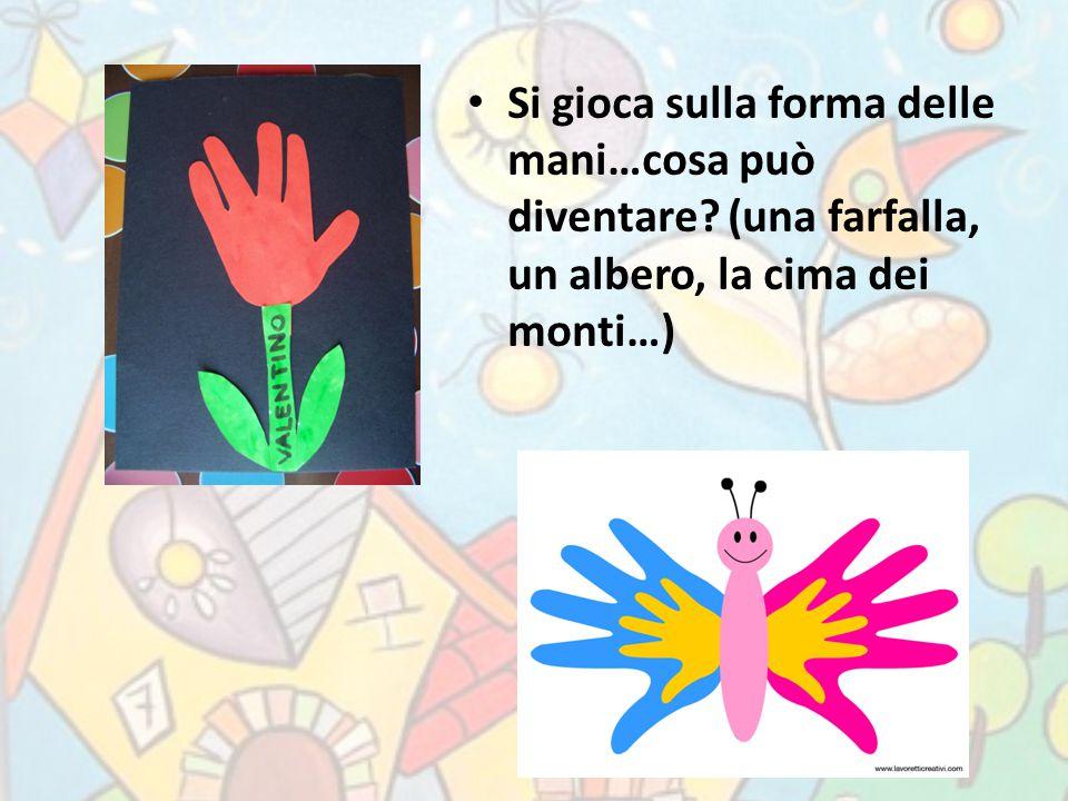 Si gioca sulla forma delle mani…cosa può diventare? (una farfalla, un albero, la cima dei monti…)