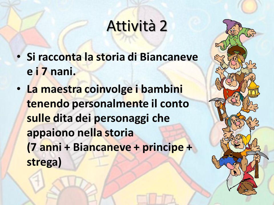 Attività 2 Si racconta la storia di Biancaneve e i 7 nani. La maestra coinvolge i bambini tenendo personalmente il conto sulle dita dei personaggi che