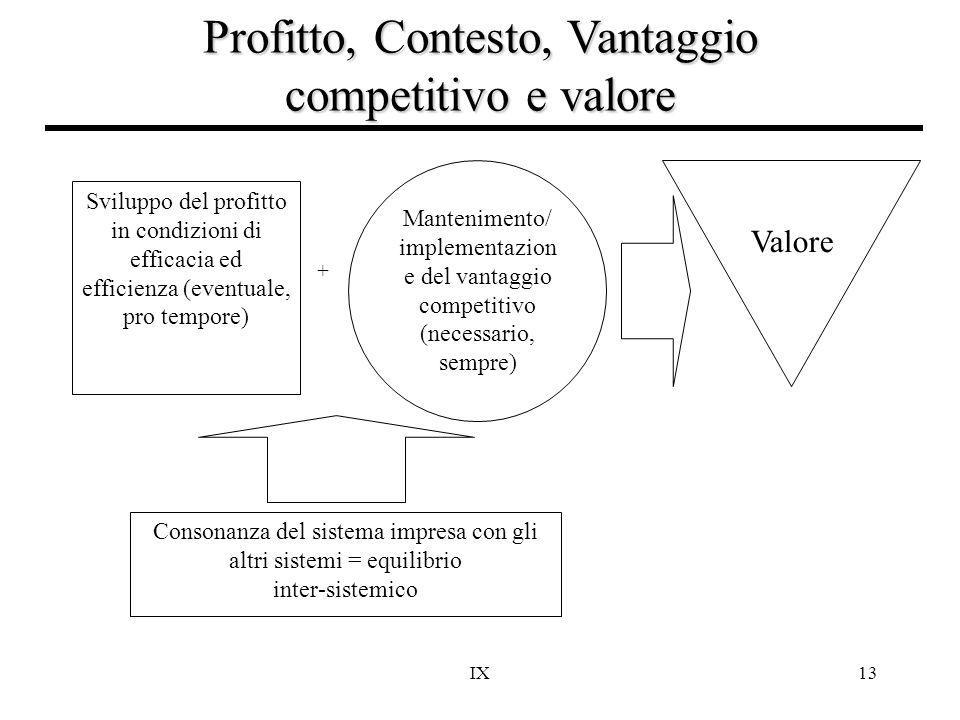 IX13 Profitto, Contesto, Vantaggio competitivo e valore + Sviluppo del profitto in condizioni di efficacia ed efficienza (eventuale, pro tempore) Cons