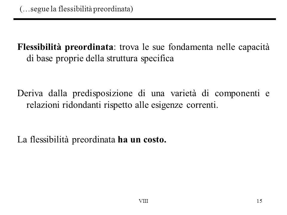 VIII15 (…segue la flessibilità preordinata) Flessibilità preordinata: trova le sue fondamenta nelle capacità di base proprie della struttura specifica