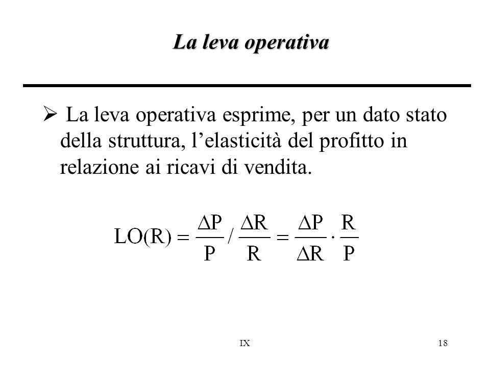 IX18 La leva operativa  La leva operativa esprime, per un dato stato della struttura, l'elasticità del profitto in relazione ai ricavi di vendita.
