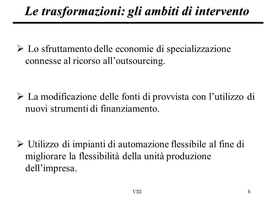 VIII8 Le trasformazioni: gli ambiti di intervento  Lo sfruttamento delle economie di specializzazione connesse al ricorso all'outsourcing.  La modif
