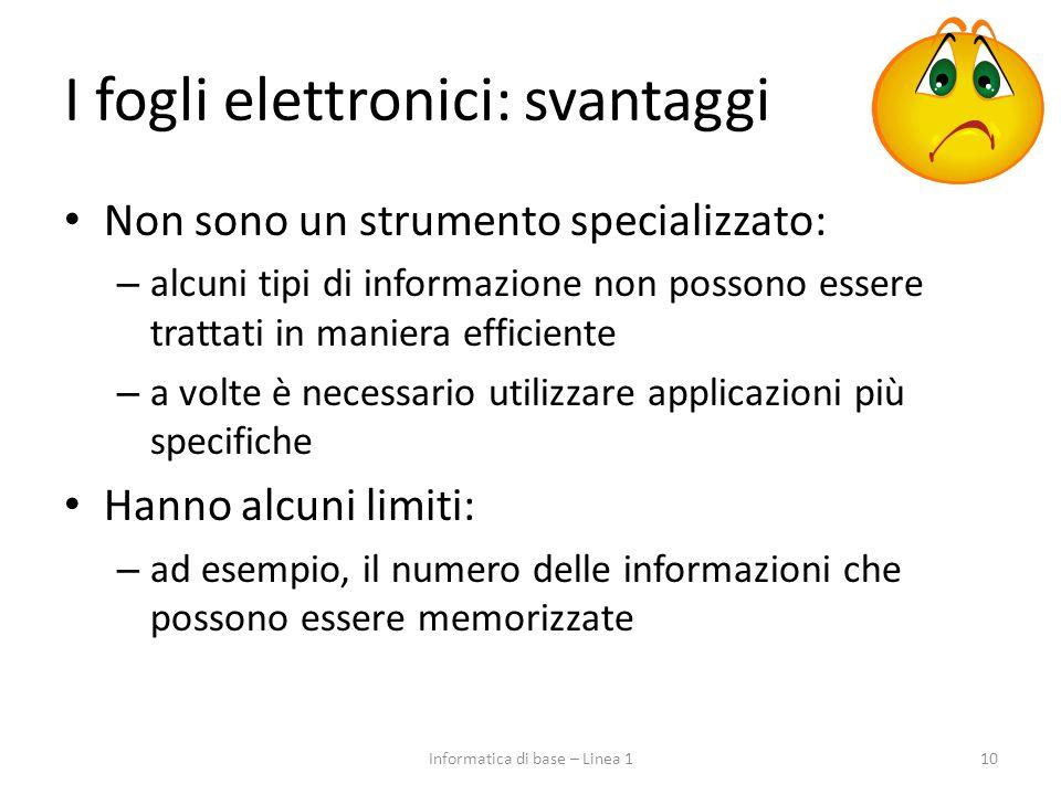 I fogli elettronici: svantaggi Non sono un strumento specializzato: – alcuni tipi di informazione non possono essere trattati in maniera efficiente –