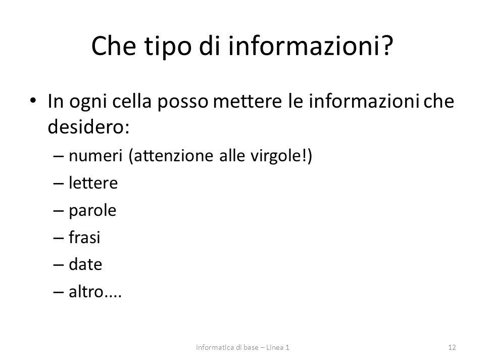 Che tipo di informazioni? In ogni cella posso mettere le informazioni che desidero: – numeri (attenzione alle virgole!) – lettere – parole – frasi – d