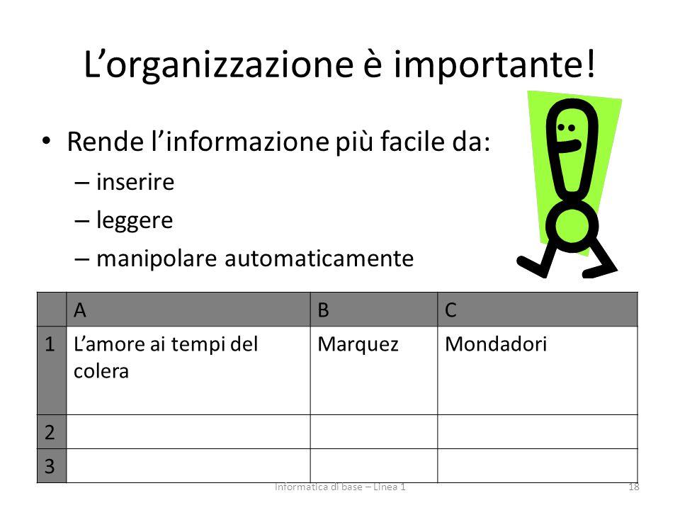 L'organizzazione è importante! Rende l'informazione più facile da: – inserire – leggere – manipolare automaticamente 18 ABC 1L'amore ai tempi del cole