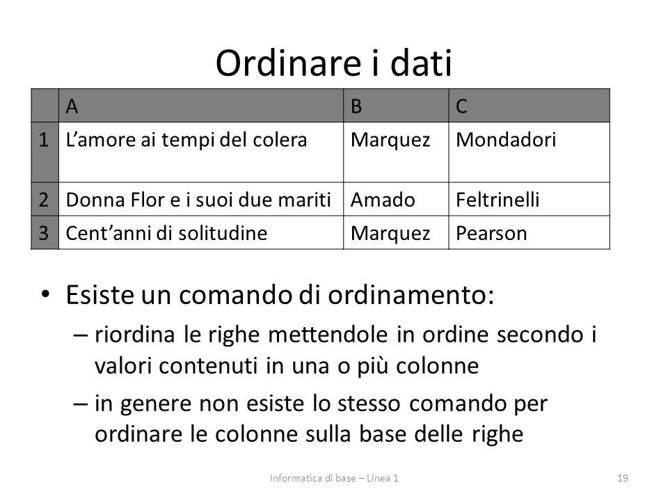 Ordinare i dati Esiste un comando di ordinamento: – riordina le righe mettendole in ordine secondo i valori contenuti in una o più colonne – in genere