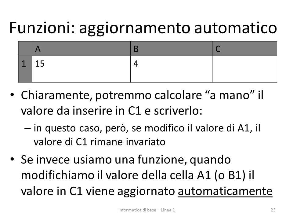 """Funzioni: aggiornamento automatico Chiaramente, potremmo calcolare """"a mano"""" il valore da inserire in C1 e scriverlo: – in questo caso, però, se modifi"""