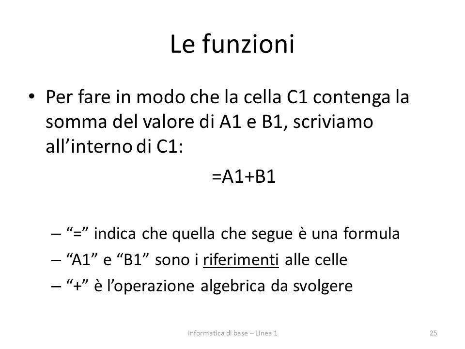 """Le funzioni Per fare in modo che la cella C1 contenga la somma del valore di A1 e B1, scriviamo all'interno di C1: =A1+B1 – """"="""" indica che quella che"""
