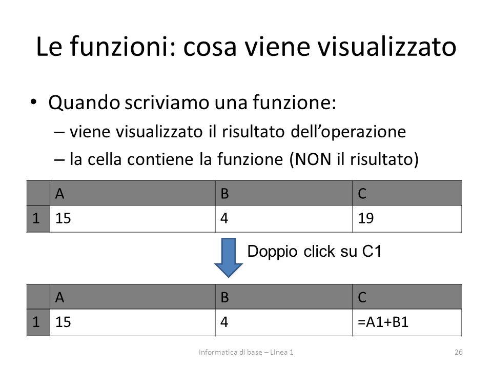 Le funzioni: cosa viene visualizzato Quando scriviamo una funzione: – viene visualizzato il risultato dell'operazione – la cella contiene la funzione