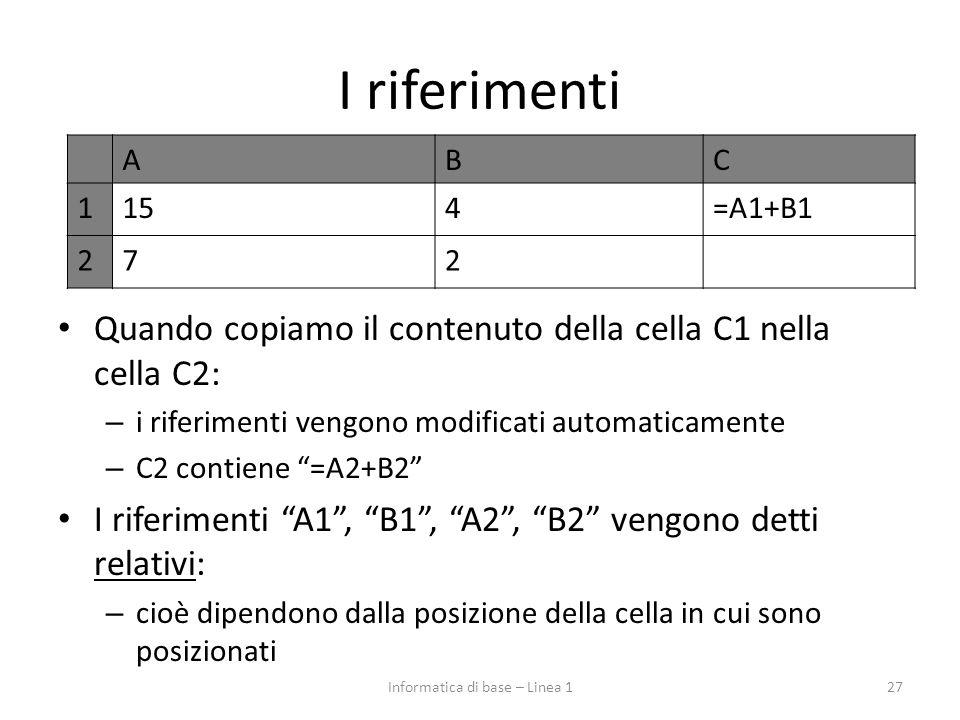 """I riferimenti Quando copiamo il contenuto della cella C1 nella cella C2: – i riferimenti vengono modificati automaticamente – C2 contiene """"=A2+B2"""" I r"""