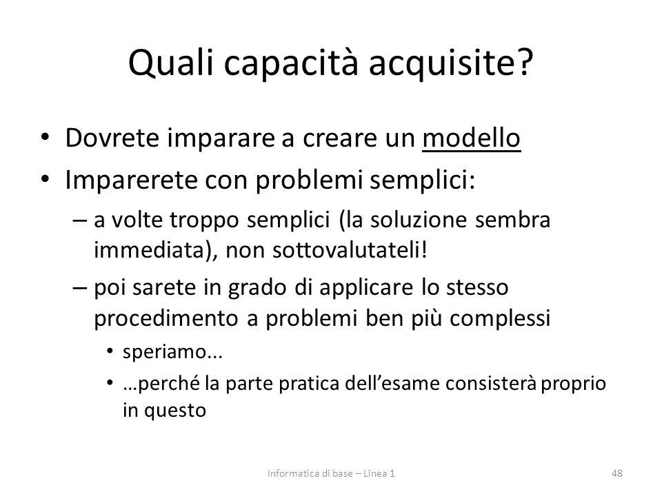 Quali capacità acquisite? Dovrete imparare a creare un modello Imparerete con problemi semplici: – a volte troppo semplici (la soluzione sembra immedi