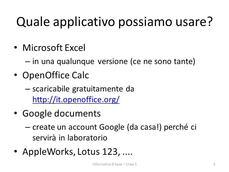 Quale applicativo possiamo usare? Microsoft Excel – in una qualunque versione (ce ne sono tante) OpenOffice Calc – scaricabile gratuitamente da http:/