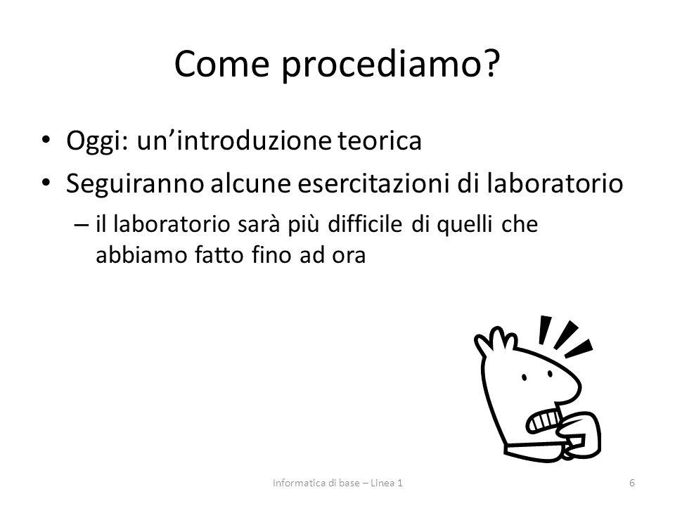 Come procediamo? Oggi: un'introduzione teorica Seguiranno alcune esercitazioni di laboratorio – il laboratorio sarà più difficile di quelli che abbiam