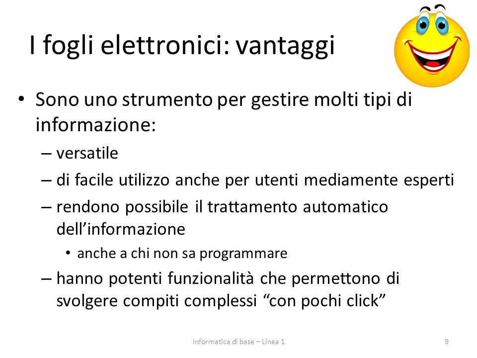 I fogli elettronici: vantaggi Sono uno strumento per gestire molti tipi di informazione: – versatile – di facile utilizzo anche per utenti mediamente