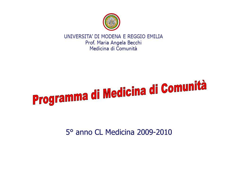 5° anno CL Medicina 2009-2010 UNIVERSITA' DI MODENA E REGGIO EMILIA Prof. Maria Angela Becchi Medicina di Comunità