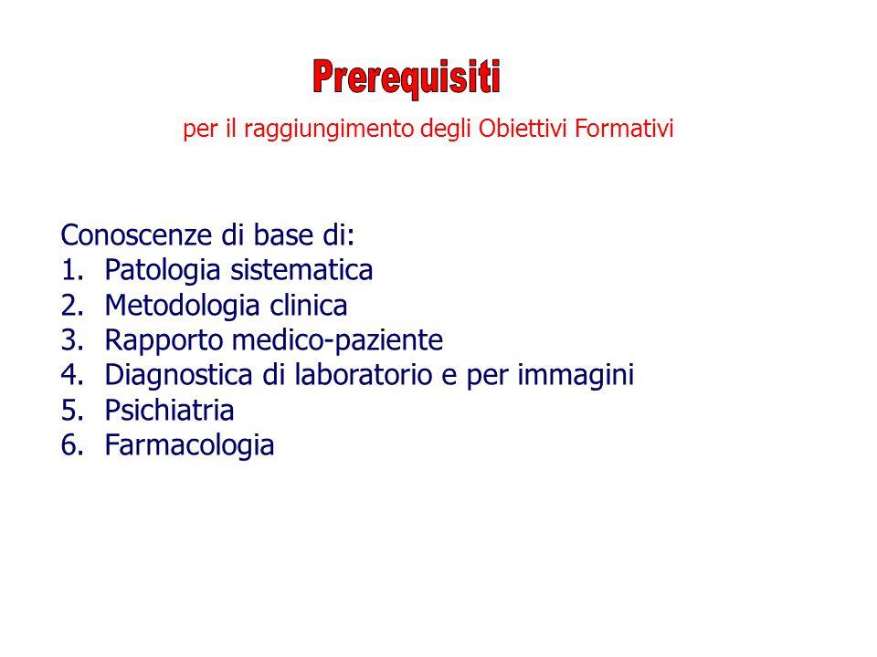 Conoscenze di base di: 1.Patologia sistematica 2.Metodologia clinica 3.Rapporto medico-paziente 4.Diagnostica di laboratorio e per immagini 5.Psichiat