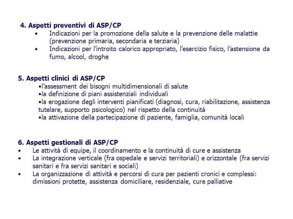 4. Aspetti preventivi di ASP/CP Indicazioni per la promozione della salute e la prevenzione delle malattie (prevenzione primaria, secondaria e terziar