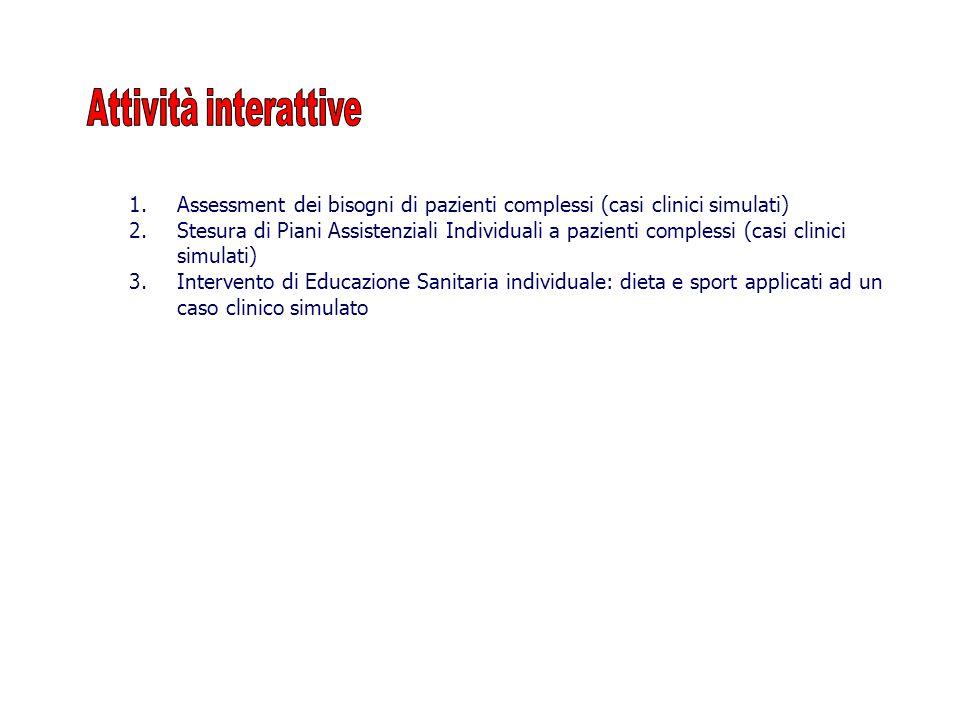 1.Assessment dei bisogni di pazienti complessi (casi clinici simulati) 2.Stesura di Piani Assistenziali Individuali a pazienti complessi (casi clinici