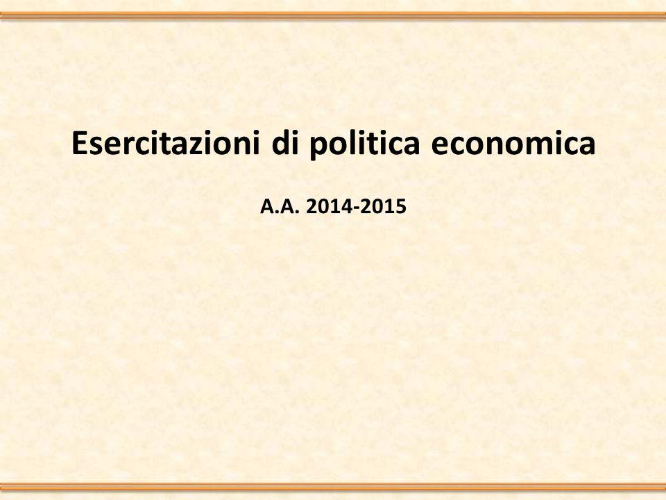 Esercitazioni di politica economica A.A. 2014-2015