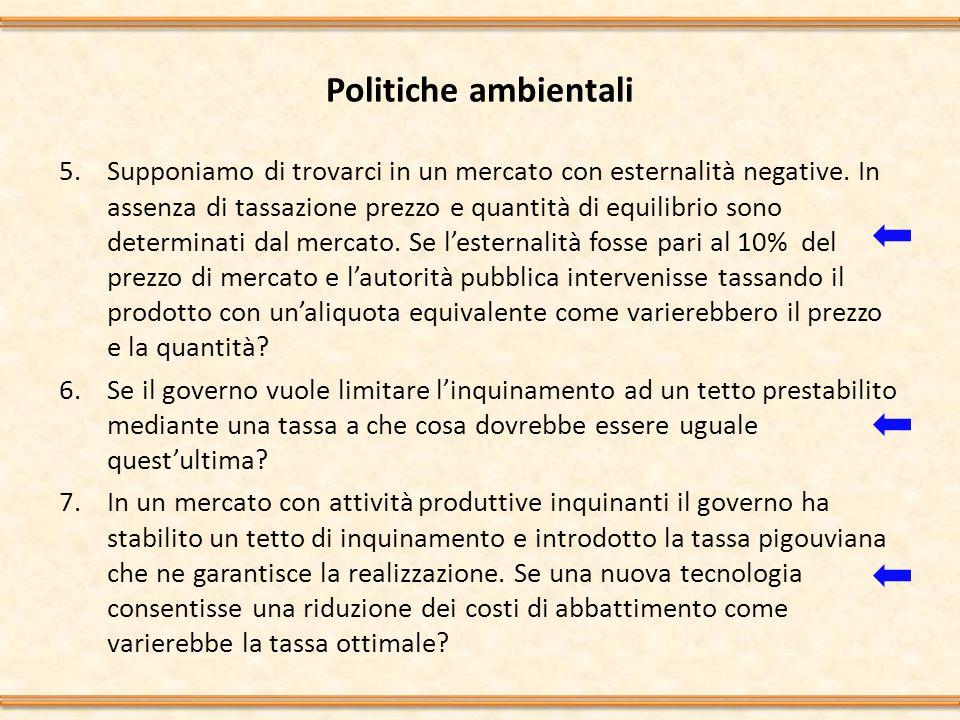 Politiche ambientali 5.Supponiamo di trovarci in un mercato con esternalità negative.