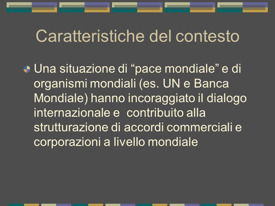 Caratteristiche del contesto Una situazione di pace mondiale e di organismi mondiali (es.